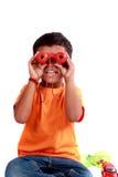Bambino con Binoculors Immagine Stock