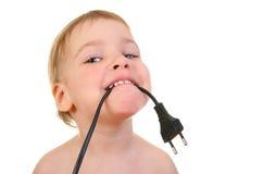 Bambino con collegare Fotografia Stock Libera da Diritti