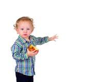 Bambino con frutta Fotografia Stock