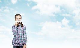 Bambino con i baffi Fotografia Stock Libera da Diritti