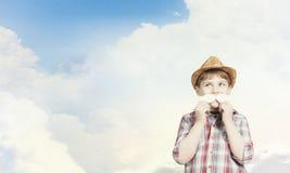 Bambino con i baffi Fotografia Stock