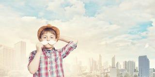 Bambino con i baffi Immagini Stock Libere da Diritti