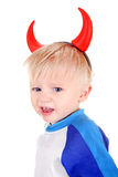 Bambino con i corni del diavolo Immagini Stock Libere da Diritti