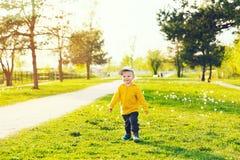 Bambino con i denti di leone nella campagna a primavera Immagine Stock Libera da Diritti