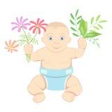 Bambino con i fiori e le foglie Fotografia Stock Libera da Diritti