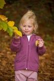 Bambino con i fogli fotografie stock libere da diritti