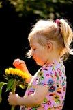 Bambino con i girasoli nel giardino in estate Immagine Stock Libera da Diritti