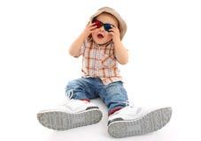 Bambino con i vetri 3D Immagini Stock