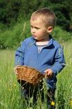 Bambino con il cestino di vimini Fotografie Stock Libere da Diritti