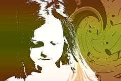 Bambino con il collage di turbine di musica Fotografie Stock