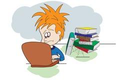 Bambino con il computer portatile ed i libri Fotografia Stock Libera da Diritti
