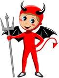 Bambino con il costume del diavolo di Halloween Fotografia Stock