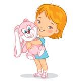 Bambino con il giocattolo rosa del coniglio della peluche Immagini Stock Libere da Diritti