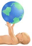 Bambino con il globo Fotografie Stock
