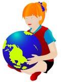 Bambino con il globo Fotografia Stock