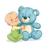 Bambino con il grande orsacchiotto blu Fotografie Stock