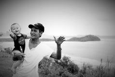 Bambino con il granpa Immagine Stock Libera da Diritti