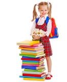 Bambino con il libro della pila. Immagini Stock Libere da Diritti