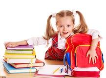 Bambino con il libro della pila. Fotografia Stock