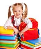 Bambino con il libro della pila. Immagini Stock