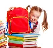 Bambino con il libro della pila. Immagine Stock Libera da Diritti