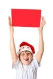 Bambino con il messaggio di natale Fotografia Stock Libera da Diritti