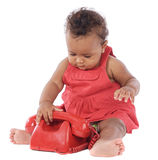 Bambino con il telefono rosso immagine stock