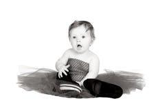 Bambino con il vestito in bianco e nero Fotografia Stock