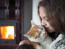 Bambino con l'animale domestico Fotografia Stock