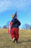 bambino con la bandiera americana Immagine Stock Libera da Diritti