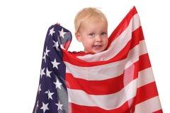 Bambino con la bandierina degli S.U.A. Fotografia Stock