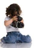 Bambino con la macchina fotografica Fotografie Stock