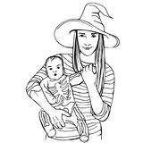 Bambino con la madre vestita in costumi di Halloween Immagini Stock