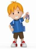 Bambino con la medaglia di oro Fotografia Stock