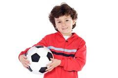 Bambino con la sfera di calcio Fotografia Stock Libera da Diritti