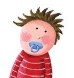 Bambino con la tettarella blu illustrazione di stock