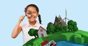 Bambino con le lenti d'ingrandimento che guarda una terra 3D Immagine Stock
