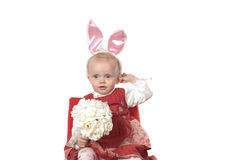 Bambino con le orecchie delle lepri Immagini Stock