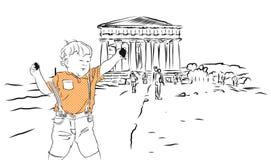 Bambino con le rocce ed il tempio di Concordia Agrigento, Sicilia Immagini Stock Libere da Diritti
