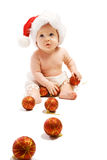 Bambino con le sfere di natale fotografie stock libere da diritti