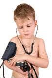 Bambino con lo sphygmomanometer Fotografia Stock