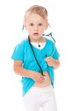 Bambino con stetoscope che gioca medico Immagini Stock Libere da Diritti