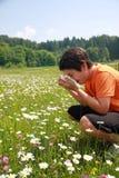 Bambino con un'allergia a polline mentre starnuto in mezzo a Th Immagini Stock Libere da Diritti