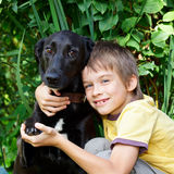 Bambino con un cane Immagini Stock Libere da Diritti