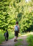 Bambino con un cane Fotografia Stock