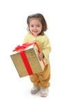 Bambino con un regalo di natale Immagine Stock