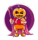 Bambino in costume di Halloween con la zucca sulla testa Fotografie Stock Libere da Diritti