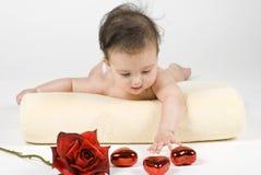 Bambino, cuori, & Rosa fotografie stock