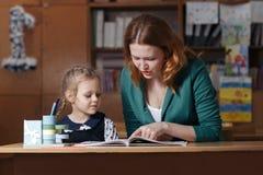 Bambino d'aiuto della madre dopo la scuola bambino in età prescolare che fa compito con aiuto dell'istitutore concetto d'istruzio Immagine Stock Libera da Diritti