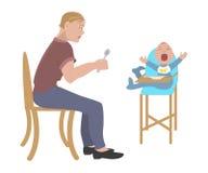 Bambino d'alimentazione del padre Fotografie Stock Libere da Diritti